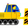 Stock Vector: Bulldozer and driver