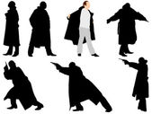 A collection of silhouettes of gangsters. Vector — Stock Vector