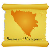 Vector parchment with a silhouette of Bosnia and Herzegovina — Stock Vector