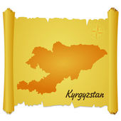 Vector parchment with a silhouette of Kyrgyzstan — Stock Vector