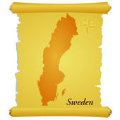 Vector parchment with a silhouette of Sweden — Stock Vector