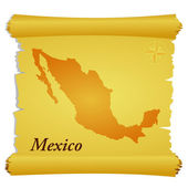 Vector parchment with a silhouette of Mexico — Stock Vector