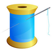 Spool of blue thread with a needle. vector — Stock Vector