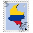 Vector stamp with the image maps of Colombia - Stock Vector