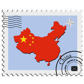 Vector stamp with the image maps of China — Stock Vector
