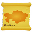 Vector parchment with a silhouette of Kazakhstan - Stock Vector