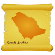 Vector parchment with a silhouette of Saudi Arabia - Stock Vector