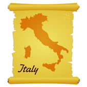 Vector parchment with a silhouette of Italy — Stock Vector