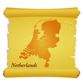 Vector parchment with a silhouette of Netherlands — Stock Vector