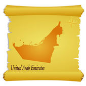 Vector parchment with a silhouette of United Arab Emirates — Stock Vector