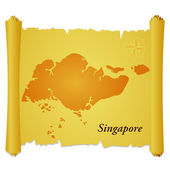 Vector parchment with a silhouette of Singapore — Stock Vector