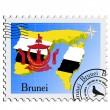 Stock Vector: Vector stamp with image maps of Brunei