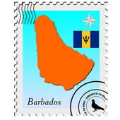 Vector stamp with the image maps of Barbados — Stock Vector