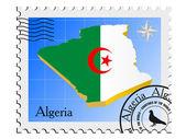 вектор марка с изображением карты алжира — Cтоковый вектор