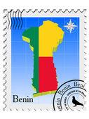 Vektorové razítko s obrázkem mapy z Beninu — Stock vektor