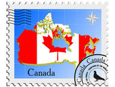 Vector stamp with the image maps of Canada — Stock Vector