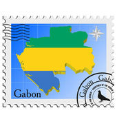 Vector stamp with the image maps of Gabon — Stock Vector