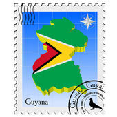 Vector stamp with the image maps of Guyana — Stock Vector