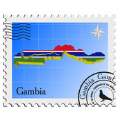 Vector stamp with the image maps of Gambia — Stock Vector