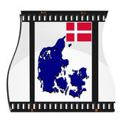 Vector image footage with a map of Denmark — Stock Vector