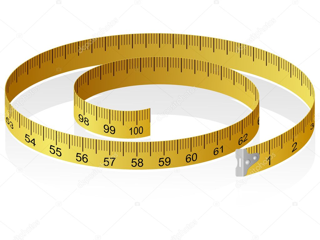 Vector illustration of a measuring tape with reflection — Stock Vector #7316209
