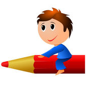 Little boy a pencil. vector — Stockvektor