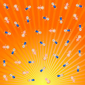 Vector background with rays and young children — Vector de stock