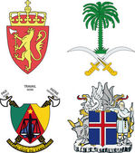Set of arms of Iceland, Norway, Saudi Arabia, Cameroon — Stock Vector