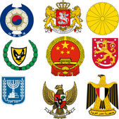Collection of vector illustrations of coats of arms — Stock Vector
