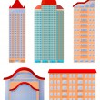 Collection of vector illustrations of apartment buildings — Stock Vector