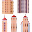 Set of vector  illustrations of apartment buildings - Stock Vector