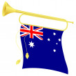 Vector illustration bugle with a flag Australia — Stock Vector