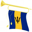 Vector illustration bugle with a flag Barbados — Stock Vector