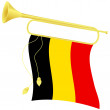 Vector illustration bugle with a flag Belgium — Stock Vector