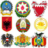Vector set of coats of arms of the world — Stock Vector