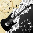 Stock Vector: Abstract vector background with guitar