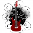Vector illustration of a guitar on abstract grunge background — Stock Vector