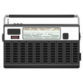 Ilustração em vetor de um rádio portátil em uma caixa preta. eps1 — Vetorial Stock