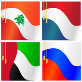 Collection of vector illustrations of flags of Lebanon, Nether — Stock Vector