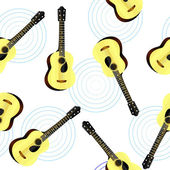 Seamless texture with an acoustic guitar — Stock Vector