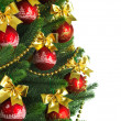 Decorated Christmas tree on white background — Stock Photo #7675787