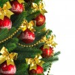 Decorated Christmas tree on white background — Foto de Stock   #7675787