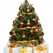 Decorated Christmas tree on white background - Zdjęcie stockowe