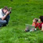 Happy young family enjoy outdoors — Stock Photo