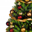 Decorated Christmas tree on white background — Foto Stock