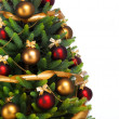 Decorated Christmas tree on white background - Stockfoto