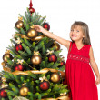 Pretty girl with present near the Cristmas tree — Stock Photo #7676416