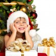 Pretty girl with present near the Cristmas tree — Stock Photo #7676436