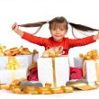 Pretty girl with presents — Stock Photo
