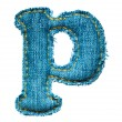 Handmade lowercase letter of jeans alphabet — Stock Photo